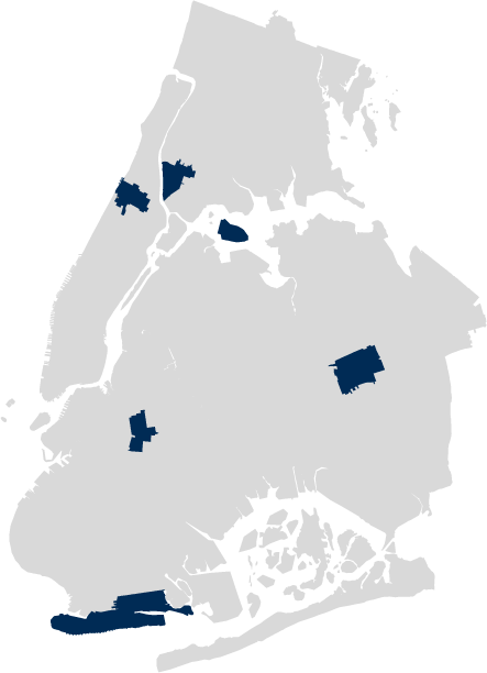 A map of New York with CASES office locations highlighted