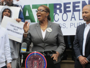New York City Council member Letitia James voices her support for the ATI/Reentry Coalition.