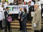 New York City Council member Ydanis Rodríguez speaks at the ATI/Reentry Coalition rally.