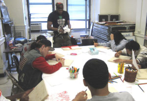 Brooklyn-based artist Voodo Fe conducts an experimental art workshop with CASES participants.